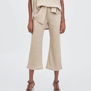 NWT Zara RIBBED CULOTTES Dressy Pants S